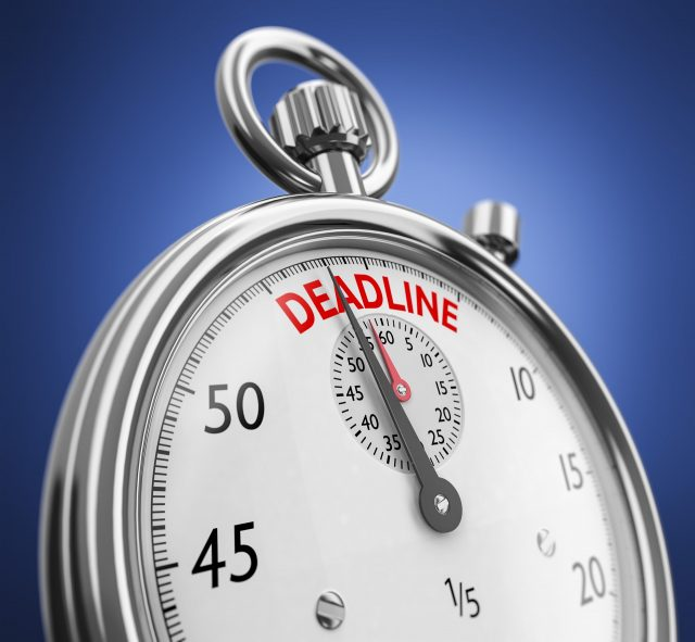 stay - stopwatch showing deadline